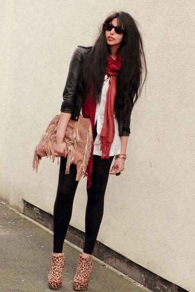 red Ebay scarf - gold Ashish for Topshop boots - black jacket - black leggings