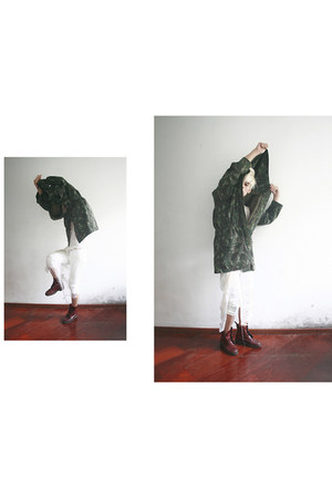 leather vintage boots - military jacket vintage coat - shredded self-made t-shir