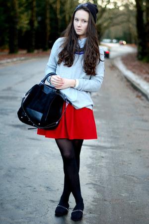 dark gray studded Zara shoes - gray beanie ReBell hat - black leather Zara bag