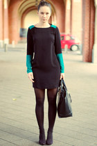 dark gray Zara bag - teal asos dress - charcoal gray H&M tights