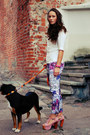 Light-purple-h-m-leggings-white-h-m-blouse-light-pink-jeffrey-campbell-heels