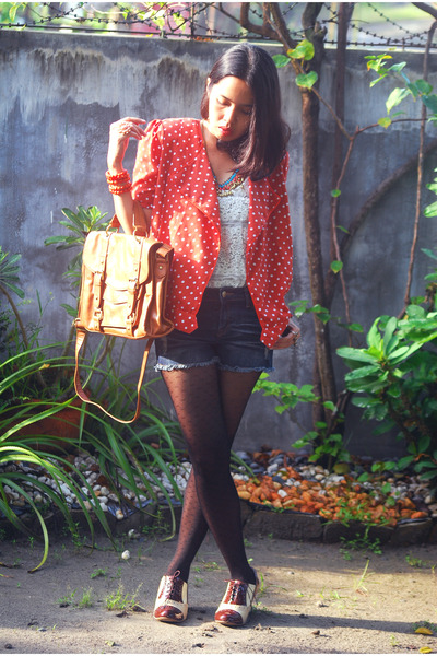 polka dot blazer - lace up oxfords Aldo shoes - satchel Topshop bag