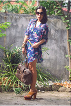navy dress - heather gray Aldo bag - black MNG sunglasses