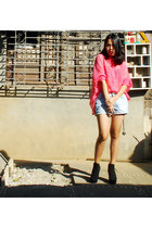 denim Zara shorts - salmon sheer style district top - silver jail bend Gold Dot