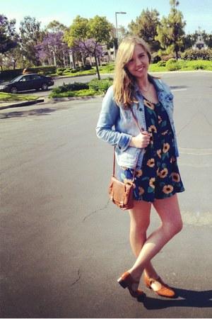 navy sunflower vintage romper - bronze vintage shoes - light blue jean jacket