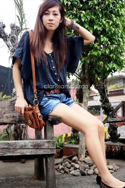 black Bazaar shoes - brown vintage thrifted bag - blue denim thrifted shorts