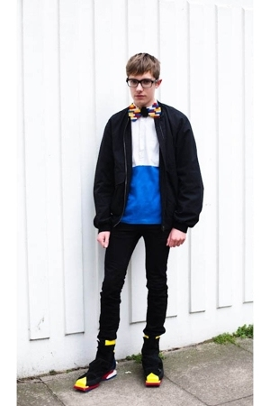 lanvin glasses - DIYHome Made tie - Miu Miu jacket - Raf Simons shirt - Topman j