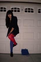 blue blazer - black dress - red tights - blue tights - black shoes - blue access