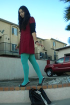 red dress - blue tights - black shoes - black accessories