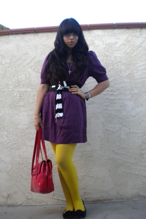 purple dress - yellow tights - black Sam&amp;Libby shoes - red accessories