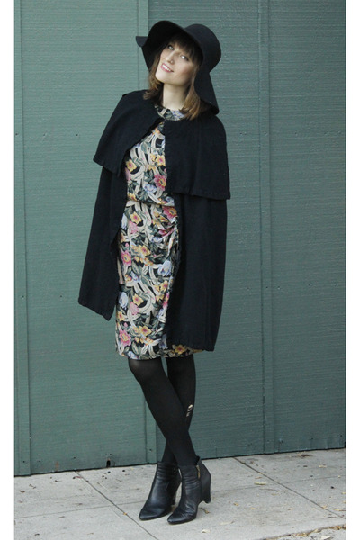 thrifted vintage cape - gifted boots - floral print vintage dress