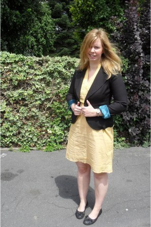 mustard Esprit dress - black H&M blazer - black flats