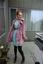 bubble gum jacket - light blue dress - salmon hat - sky blue home decor