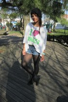 Docs boots - Target tights - Forever 21 shorts - JacVanek t-shirt