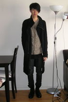 black Rick Owens coat - beige nice collective cardigan - black MB999 top - gray