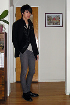black Ys by Limi coat - black Julius cardigan - white Rick Owens top - gray apri