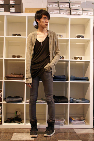 gray skinny april 77 jeans - black Diet Butcher Slim Skin shoes