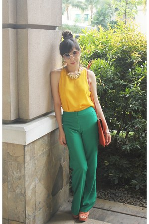 green Gelivanelli Couture pants - orange envelope bag Nobrand bag