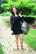 black lace dress H&M dress - silver shoulder bag vera wang bag - dark brown Nine