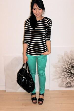 turquoise blue Paige Denim pants - navy Zara top - black ecote sandals