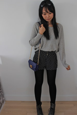 polka dots H&M shorts - puce lace up Nicole boots - silver BCBG sweater