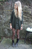 green thrifted shirt - black Primark stockings - black Topshop boots