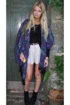 blue Urban Outfitters scarf - purple Topshop shorts - black Urban Outfitters sho