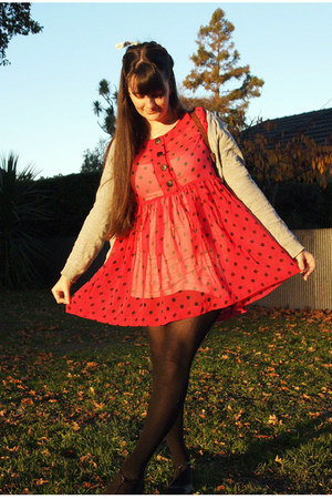 hot pink thrifted dress - black trademe flats - heather gray Zara cardigan - lig