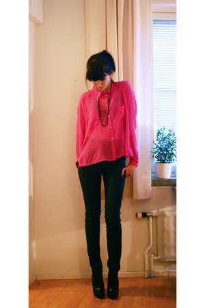 Monki blouse - asos heels - fake leather GINA TRICOT pants - Bliss Lau necklace