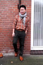 burnt orange check shirt no brand shirt - dark brown Jaspal pants