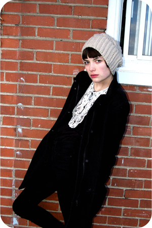 black wilfred coat - black BDG pants - black H&amp;M shirt - white Urban Outfitters 