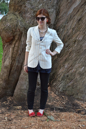 ruby red kate spade flats - white Ralph Lauren blazer - navy free people shirt