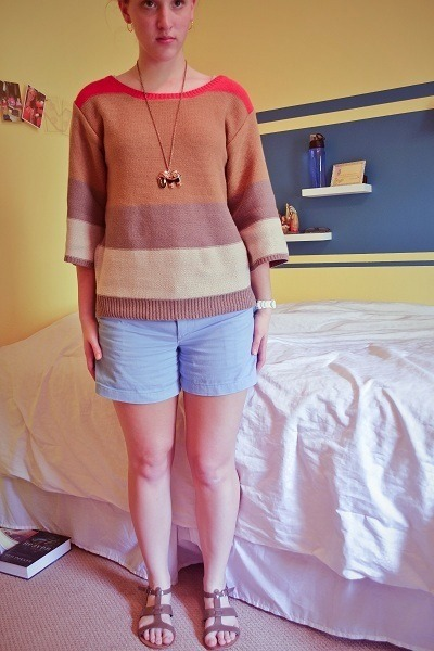 color block Old Navy sweater - casual chic Ralph Lauren shorts