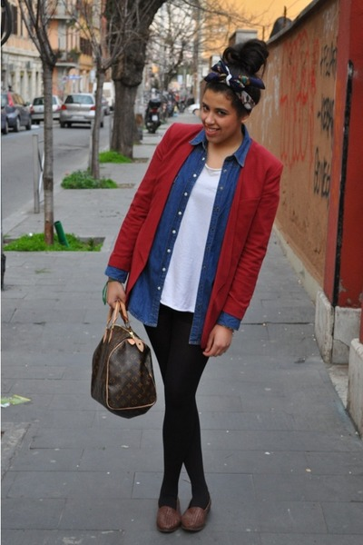 H&M blazer - jeans vintage shirt - Louis Vuitton bag - cotton American Apparel s