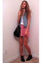 blue Old Navy vest - white Gap t-shirt - pink unkown skirt - gray Urban Outfitte