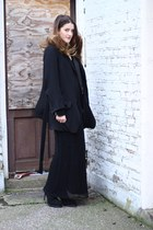 black ann demeulemeester boots - black laddered knit Topshop dress - black wool 