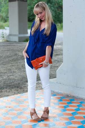 BDG jeans - Friis Company bag - Anthropologie blouse - Jeffrey Campbell wedges