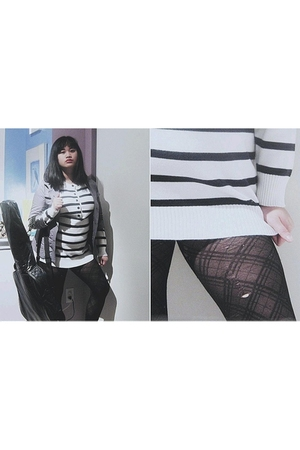 black Jessica stockings - white thrifted sweater - silver Una jacket