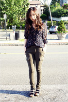 Dolce Vita sandals - cargo UO pants - sheer floral threadsence blouse