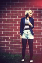 black Peacocks shoes - navy thrifted blazer - sky blue Miss Selfridge shorts - b