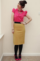 Topshop shirt - Boohoo skirt - Topshop heels