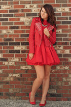 red Forever 21 jacket - ruby red Jones and Jones dress - red H&M flats