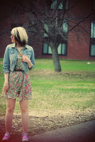 light blue asos dress - sky blue new look jacket - bubble gum Converse sneakers