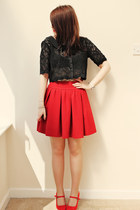 red Zara skirt - black Vero Moda top - red new look wedges