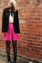 hot pink Topshop skirt - black tesco boots - black Zara blazer
