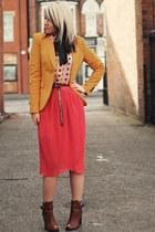 mustard Zara blazer - bronze tesco boots - salmon Dahlia skirt