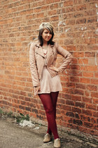 neutral Miss Selfridge jacket - peach Topshop dress - beige new look flats