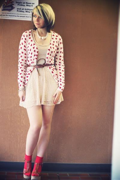 off white Topshop dress - brown Blowfish heels - white Forever 21 cardigan