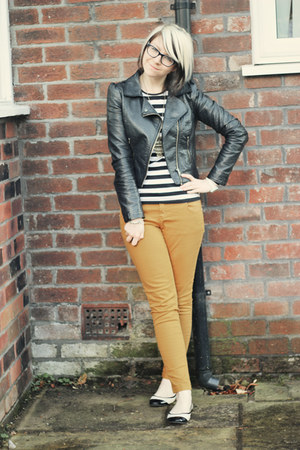 black H&amp;M jacket - mustard select jeans - black Primark shirt