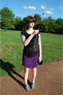 Purple-vintage-skirt-white-vintage-t-shirt-black-target-top-black-vintage-
